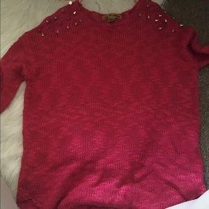 3/4 sleeve spiked sweater shirt