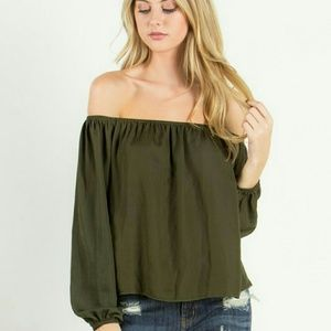 New olive off the shoulder top  (NEW ARRIVAL)