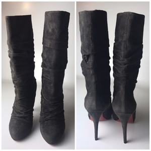 dbf67a029ee Louboutin Piros 120 Ruched Gray Suede Boots Eu 40
