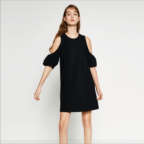 f540ab6a4038ad Zara Trafaluc Black Cold Shoulder shift dress. M 596915607fab3aa4cf0048ed