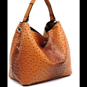 Handbags - Cognac Ostrich 2-in-1 Shoulder Bag