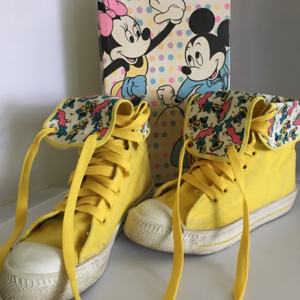 Disney Minnnie Mickey Mouse Yellow High Top Shoes