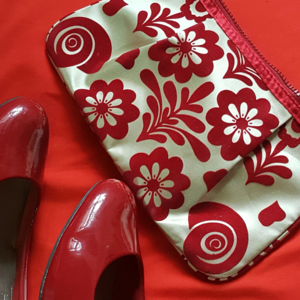 Red Felt and Champagne Satin Flower Clutch w Bow