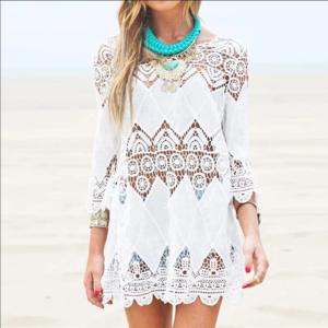 Other - White Lace Beach Bikini Coverup Sexy Tunic Dress