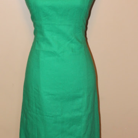 79059542 Chadwicks of Boston Dresses | Green Linen Blend Sheath Dress | Poshmark