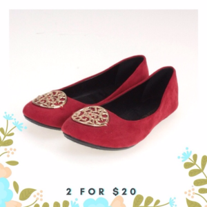 🌼LAST ONE! 🌼 Red Faux Suede Embellished Flats