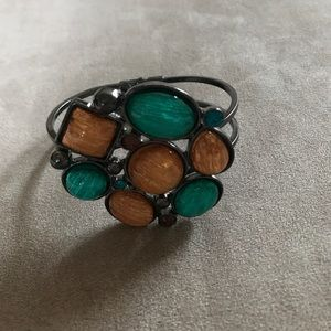 Beautiful cuff bracelet copper and teal stones