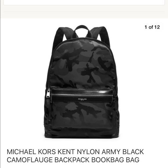 fb829892105c Michael Kors Bags | Kent Nylon Leather Bookbag Backpack Black Multi ...
