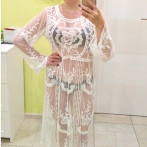 Swim - Lace Beach Sheer Bikini Swimsuit Coverup Dress NWT