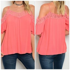 Coral off the shoulder tunic top