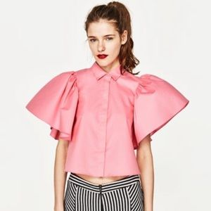 Pink ruffled sleeve open back top