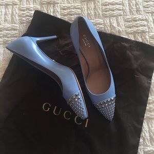 NWOT Gucci Studded Malaga Blue Leather Pumps