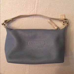 Blue and white leather coach bag