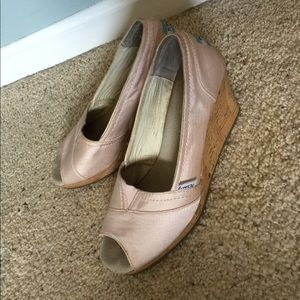 Blush Colored Toms Wedge Sandals