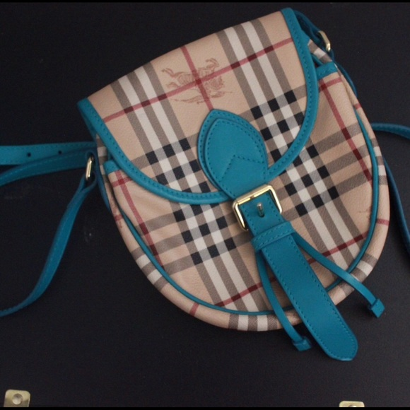 Burberry Horseferry Check aqua crossbody bag, NEW