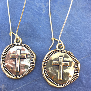 Jewelry - Gold Stamped Coin Cross Earrings