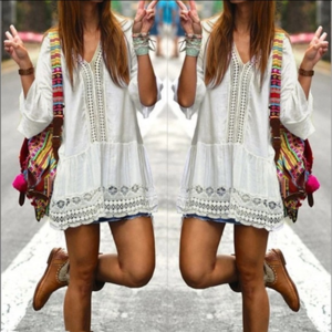 Other - Beach Coverup Tunic Sexy Black or White Boho Dress