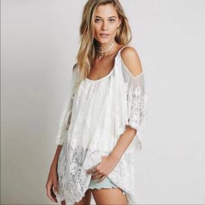 Dresses & Skirts - Sexy Summer Hippie Short Sheer Beach Dress - White