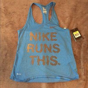 Nike Reflective Running Blue Racerback Tank