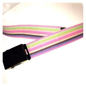 Accessories - Pink belt with yellow and white lines