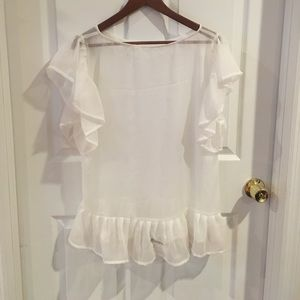 Tops - Poly crinkle chiffon ladies top with frill