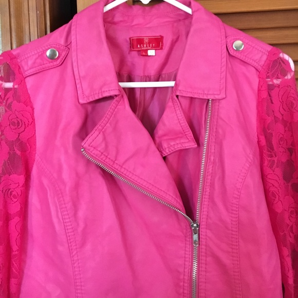 Ashley By 26 International - Hot Pink Vinyl Jacket with Lace ...
