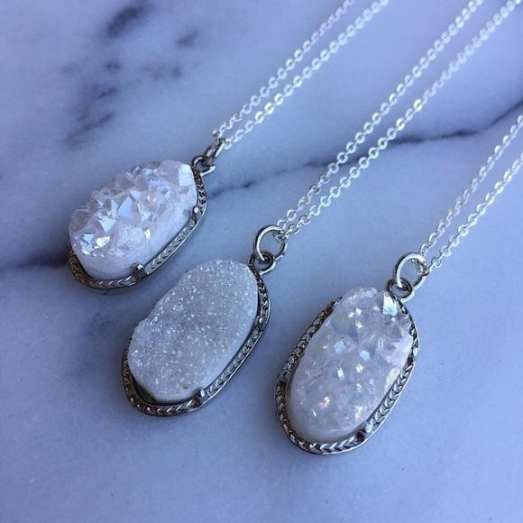 Simple Sanctuary Jewelry - White druzy quartz necklaces