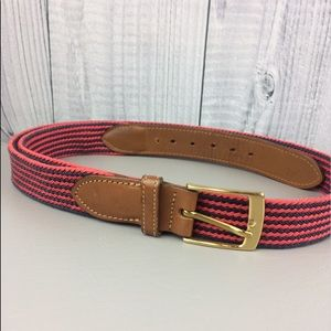 Other - Men's Woven Red Navy Brown Leather Belt Size 42
