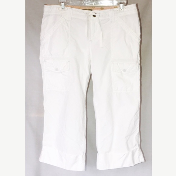 American Eagle Outfitters - AEO White Loose Cotton Cargo Cuff Capri Crop Pants from ! june ...