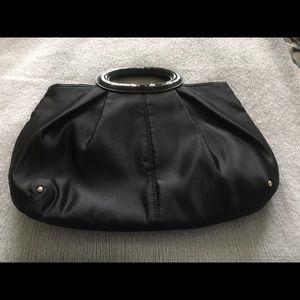 NWT!!! Loft black sateen pleated evening satchel