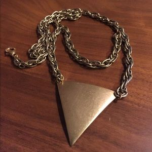 Jewelry - Vintage chain & brass triangle tiered necklace