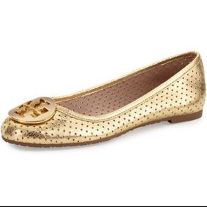 Tory Burch Perforated Reva Ballet Flats Gold 5.5