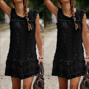 Dresses & Skirts - Boho Sleeveless Black Mini Dress NWT