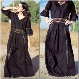 Vintage Mexican Black Pintuck & Crochet Lace Maxi