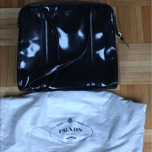 a96cfe395 Prada Bags | Black Patent Leather Shoulder Bag | Poshmark