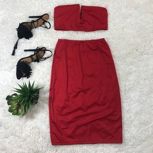 New sexy red deep v cut crop top and skirt set