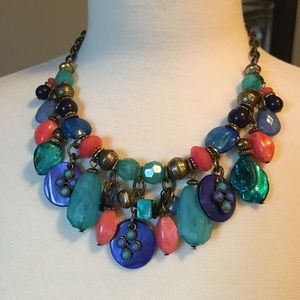 Multi colored beaded statement necklace.