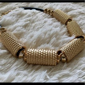 Jewelry - Gold Circular Bangle Leather Statement Necklace