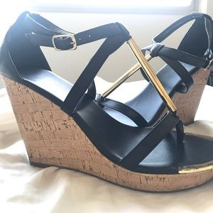 Shoes - Mossimo Cork Wedges Size 9.5 black and gold