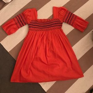 Orange Dress with Navy Embroidery