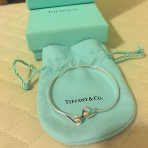 Tiffany & Co Silver/14K Gold Heart Hook Bracelet