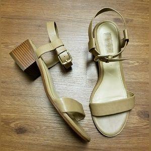 F21 Nude Block Heel Sandals - Size 8