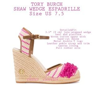 💯% Authentic Tory Burch Shaw Wedge Espadrille
