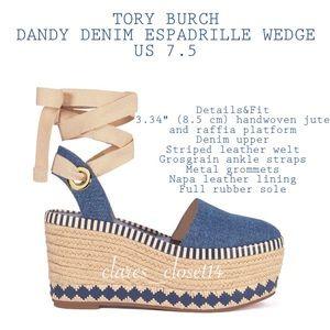 💯% Authentic Tory Burch Dandy Denim Wedge