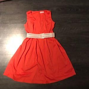 Orange Calvin Klein a-line dress