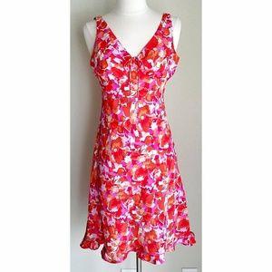 Express Orange Pink Floral Flirty Sleeveless Dress