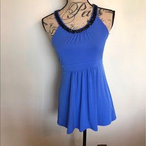 Michael Kors rial blue w/black beads top