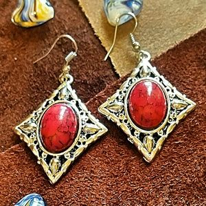 Jewelry - Handcrafted Tibet Silver & Red Turquoise Earrings