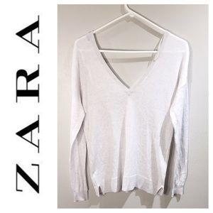 ZARA knit v-neck sweater size L