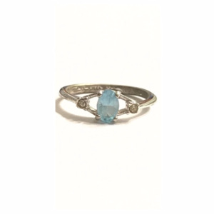 Sterling Silver Ring Blue Clear Swarovski Crystal